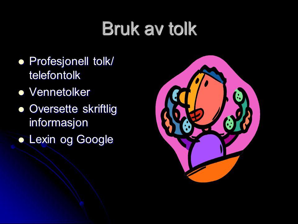 Bruk av tolk Profesjonell tolk/ telefontolk Vennetolker