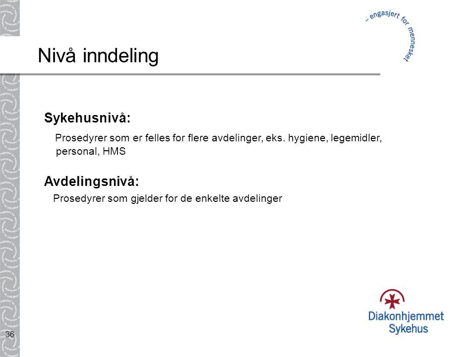 Nivå inndeling Sykehusnivå: