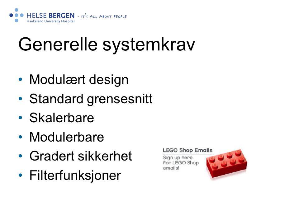 Generelle systemkrav Modulært design Standard grensesnitt Skalerbare