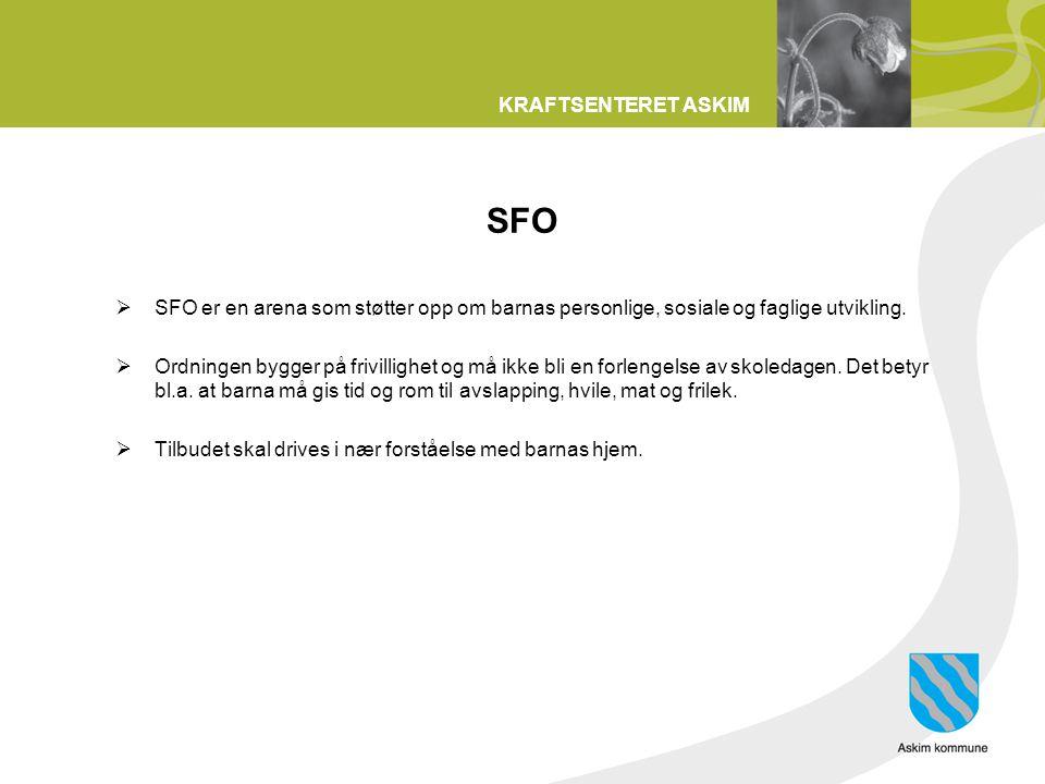 SFO SFO er en arena som støtter opp om barnas personlige, sosiale og faglige utvikling.