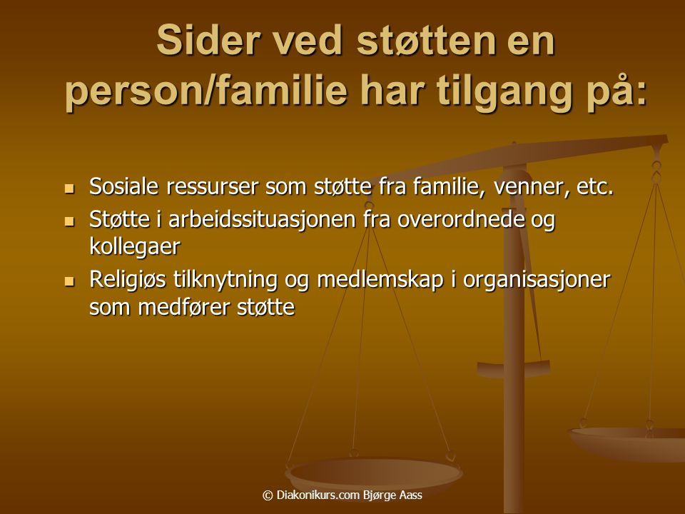 Sider ved støtten en person/familie har tilgang på: