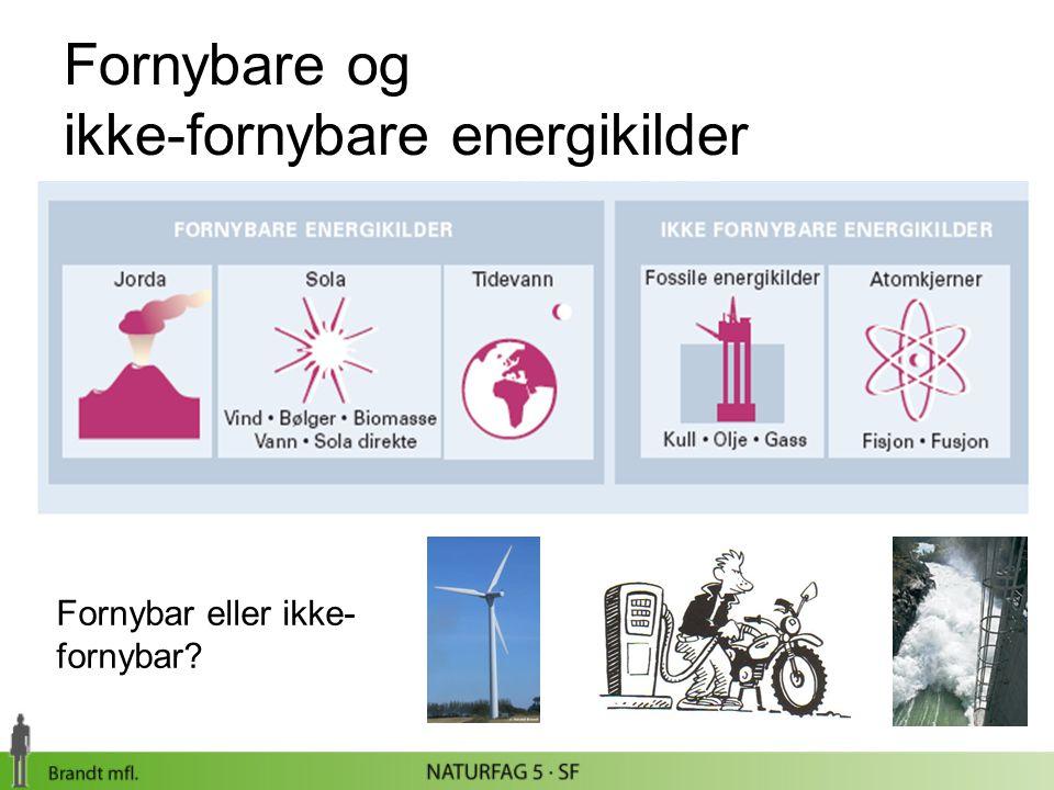Fornybare og ikke-fornybare energikilder