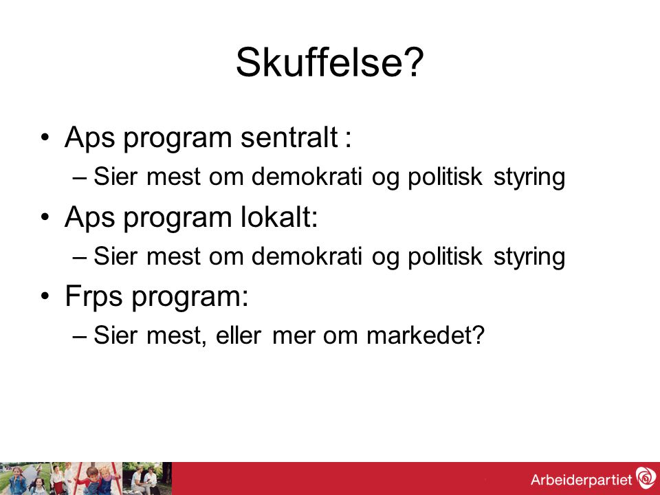 Skuffelse Aps program sentralt : Aps program lokalt: Frps program: