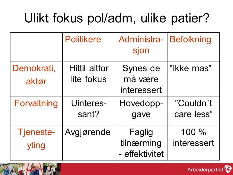 Ulikt fokus pol/adm, ulike patier