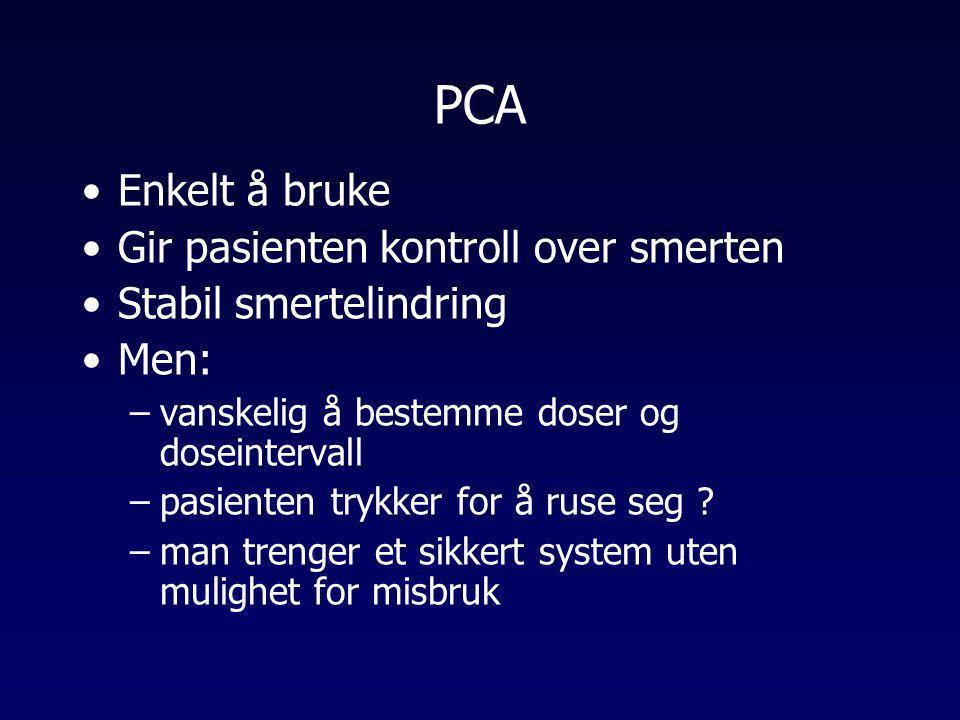 PCA Enkelt å bruke Gir pasienten kontroll over smerten