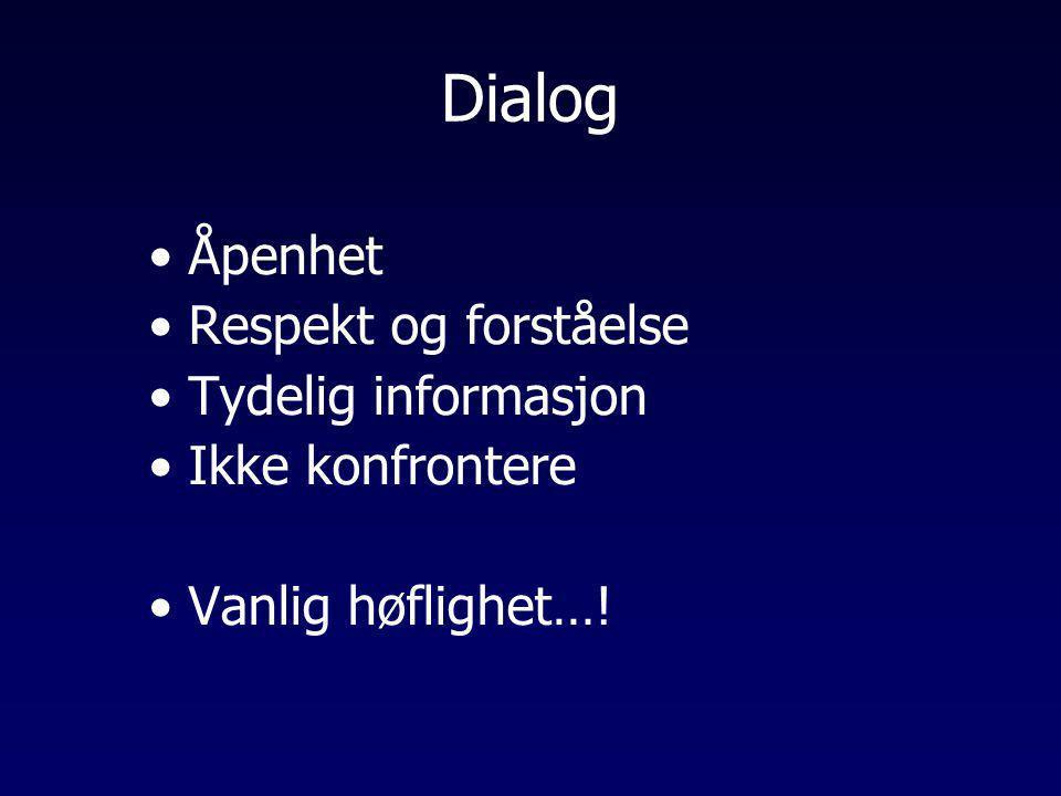 Dialog Åpenhet Respekt og forståelse Tydelig informasjon