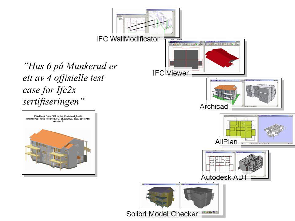 IFC WallModificator Hus 6 på Munkerud er ett av 4 offisielle test case for Ifc2x sertifiseringen IFC Viewer.