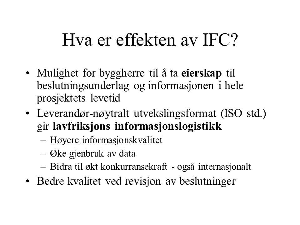 Hva er effekten av IFC Mulighet for byggherre til å ta eierskap til beslutningsunderlag og informasjonen i hele prosjektets levetid.