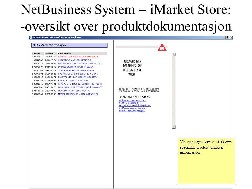 NetBusiness System – iMarket Store: -oversikt over produktdokumentasjon