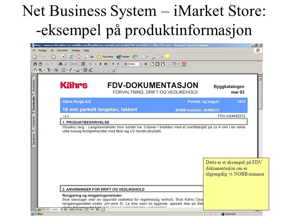 Net Business System – iMarket Store: -eksempel på produktinformasjon