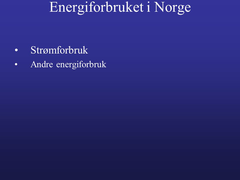 Energiforbruket i Norge