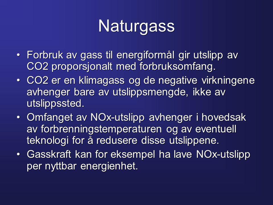 Naturgass Forbruk av gass til energiformål gir utslipp av CO2 proporsjonalt med forbruksomfang.