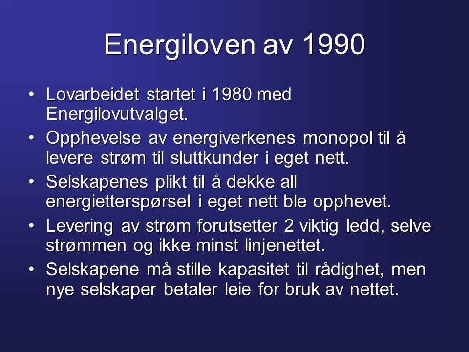 Energiloven av 1990 Lovarbeidet startet i 1980 med Energilovutvalget.