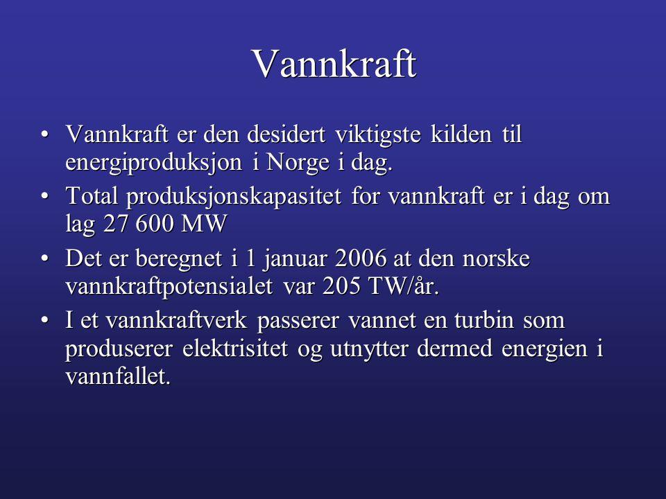 Vannkraft Vannkraft er den desidert viktigste kilden til energiproduksjon i Norge i dag.