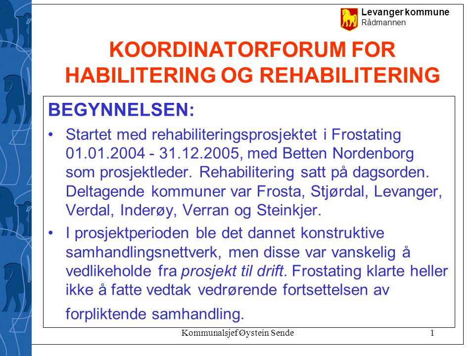 KOORDINATORFORUM FOR HABILITERING OG REHABILITERING