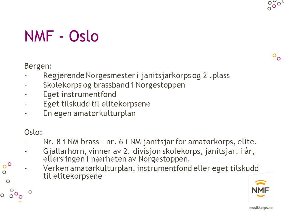 NMF - Oslo Bergen: Regjerende Norgesmester i janitsjarkorps og 2 .plass. Skolekorps og brassband i Norgestoppen.