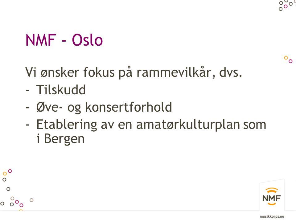 NMF - Oslo Vi ønsker fokus på rammevilkår, dvs. Tilskudd