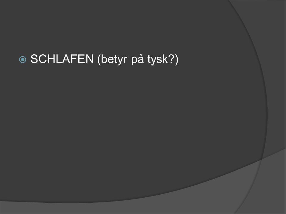 SCHLAFEN (betyr på tysk )