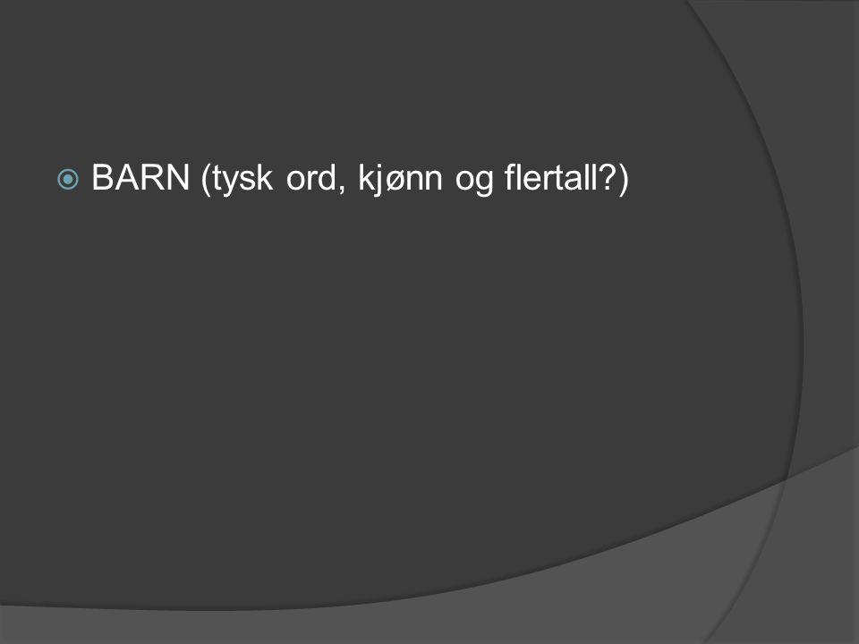 BARN (tysk ord, kjønn og flertall )