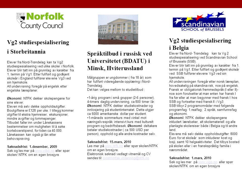 Vg2 studiespesialisering i Belgia Vg2 studiespesialisering
