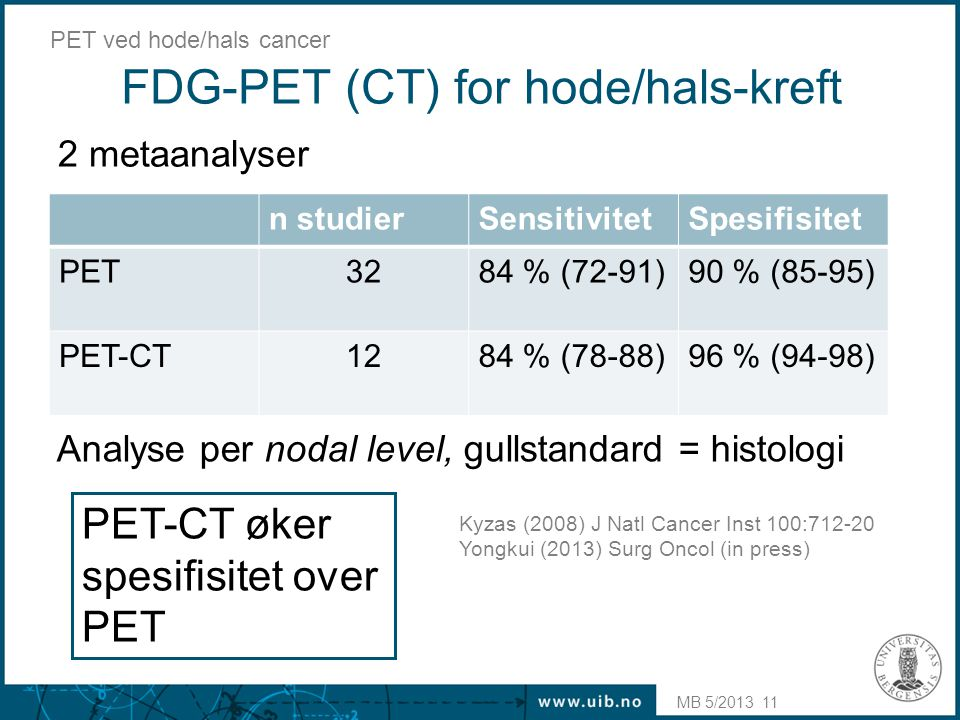 FDG-PET (CT) for hode/hals-kreft