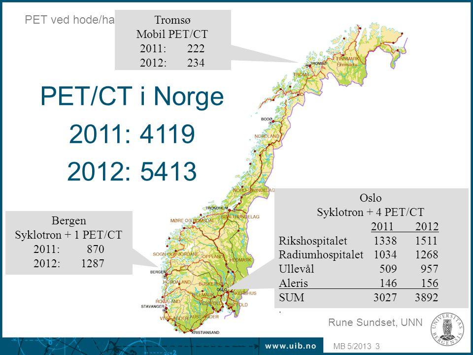 PET/CT i Norge 2011: 4119 2012: 5413 PET ved hode/hals cancer Tromsø