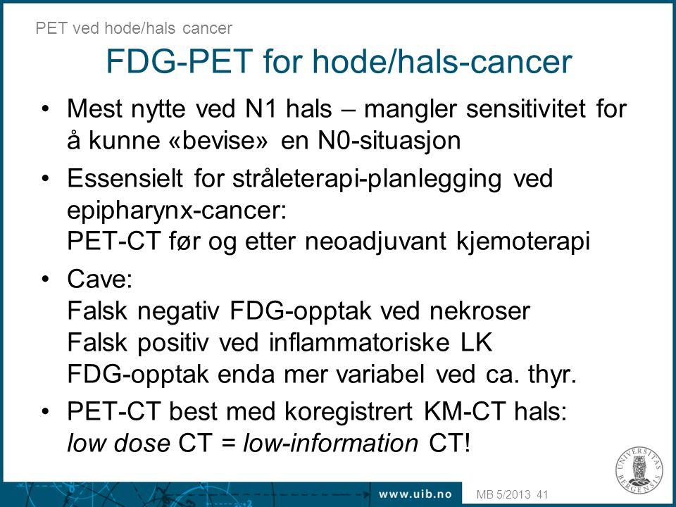 FDG-PET for hode/hals-cancer
