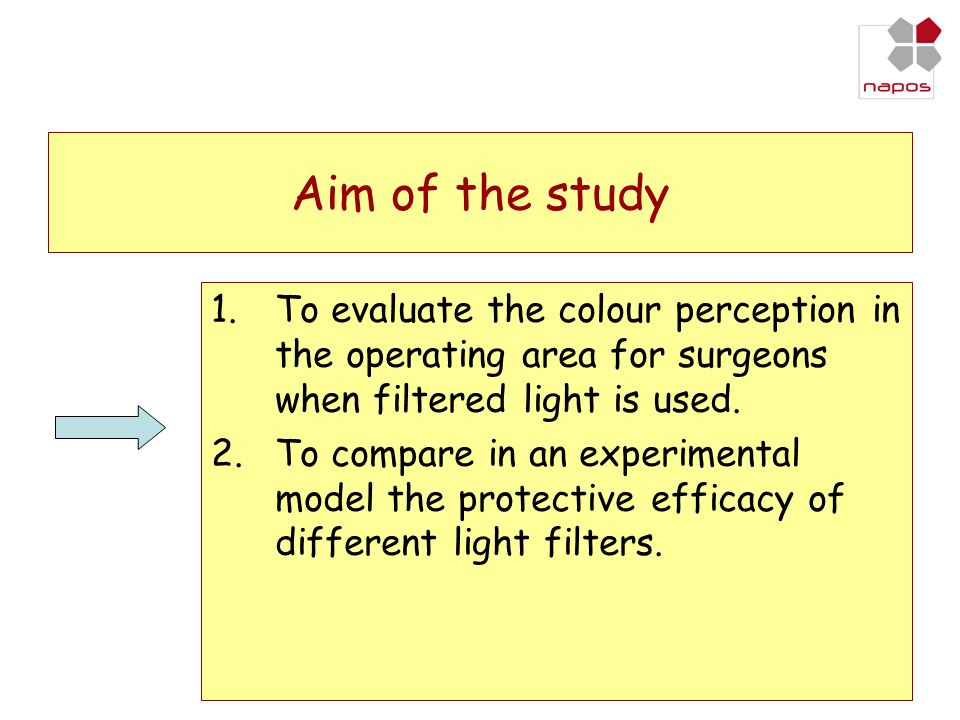 Aim of the study To evaluate the colour perception in the operating area for surgeons when filtered light is used.