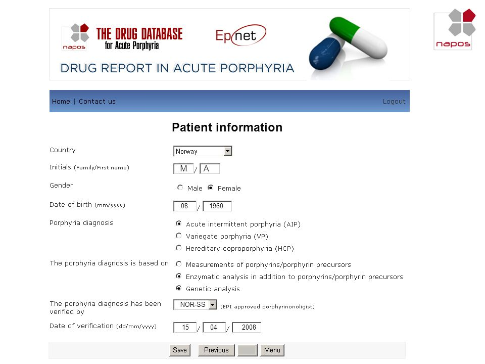 Patient information M A We are then asked for patient information: