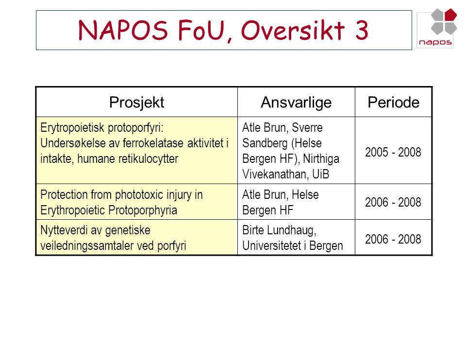 NAPOS FoU, Oversikt 3 Prosjekt Ansvarlige Periode