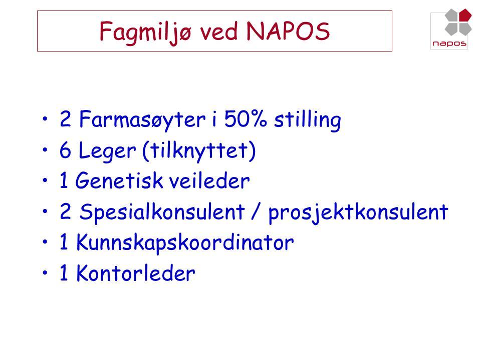 Fagmiljø ved NAPOS 2 Farmasøyter i 50% stilling 6 Leger (tilknyttet)