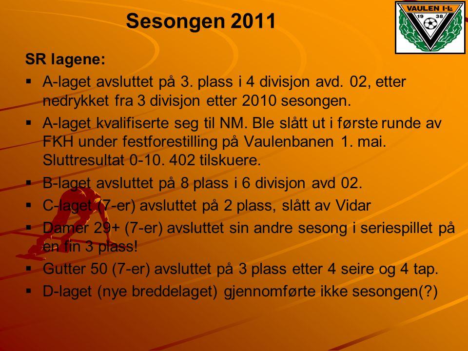 Sesongen 2011 SR lagene: A-laget avsluttet på 3. plass i 4 divisjon avd. 02, etter nedrykket fra 3 divisjon etter 2010 sesongen.