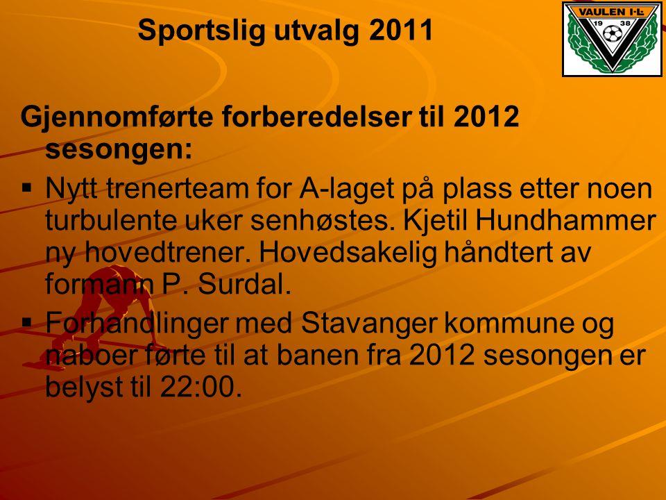 Sportslig utvalg 2011 Gjennomførte forberedelser til 2012 sesongen: