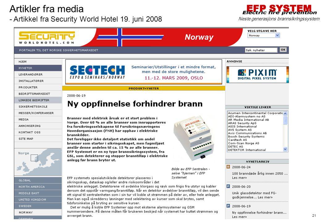 Artikler fra media - Artikkel fra Security World Hotel 19. juni 2008