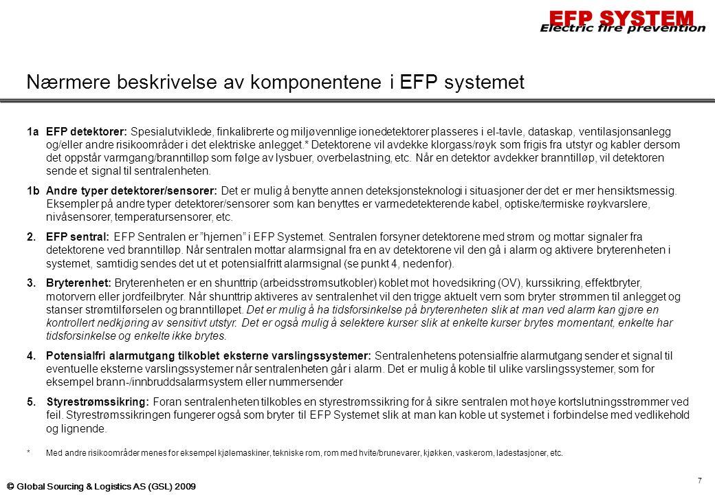 Nærmere beskrivelse av komponentene i EFP systemet