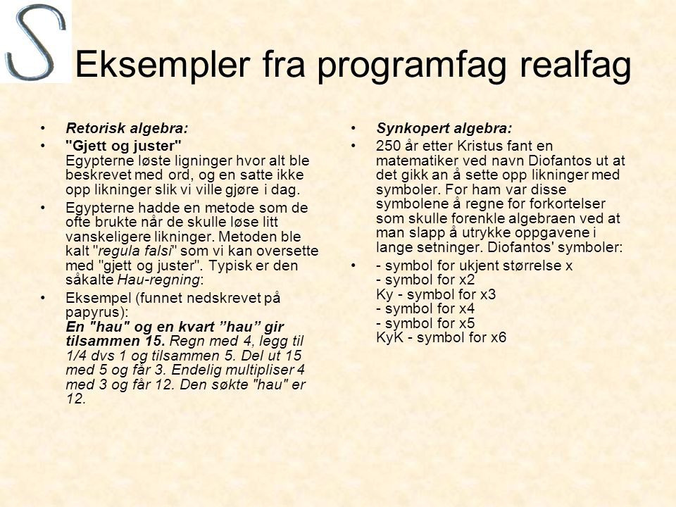 Eksempler fra programfag realfag