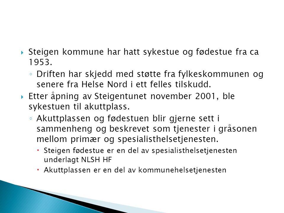 Steigen kommune har hatt sykestue og fødestue fra ca 1953.