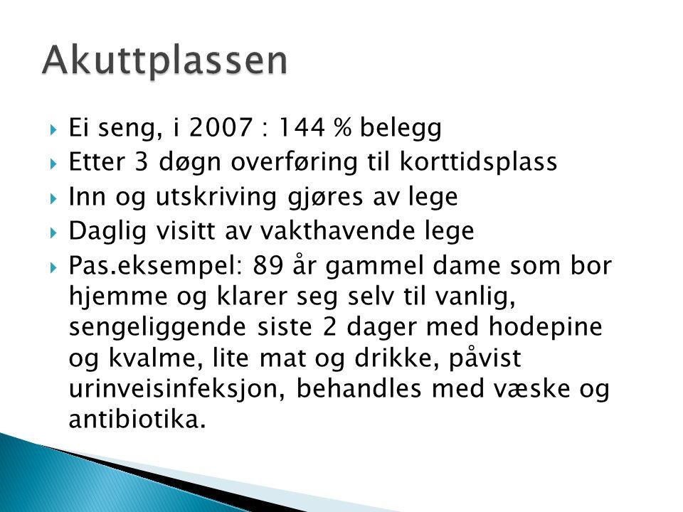 Akuttplassen Ei seng, i 2007 : 144 % belegg