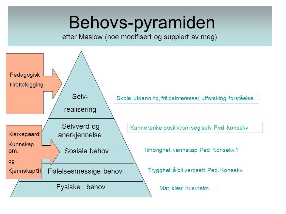 Behovs-pyramiden etter Maslow (noe modifisert og supplert av meg)