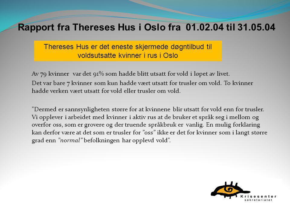Rapport fra Thereses Hus i Oslo fra 01.02.04 til 31.05.04