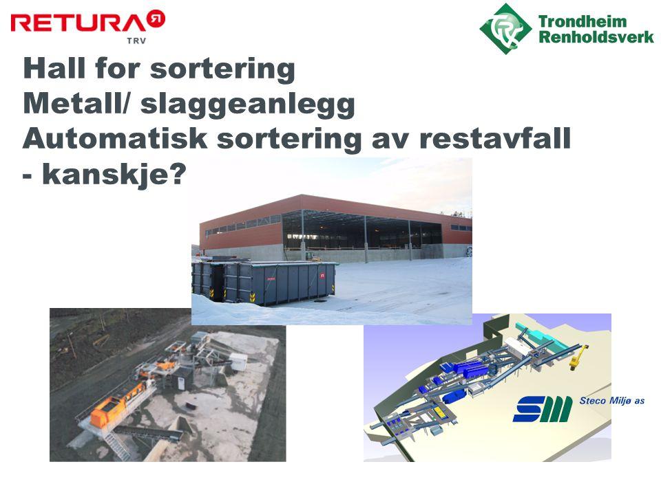 Hall for sortering Metall/ slaggeanlegg Automatisk sortering av restavfall - kanskje