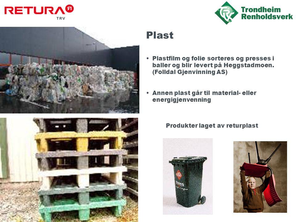 Plast Plastfilm og folie sorteres og presses i baller og blir levert på Heggstadmoen. (Folldal Gjenvinning AS)
