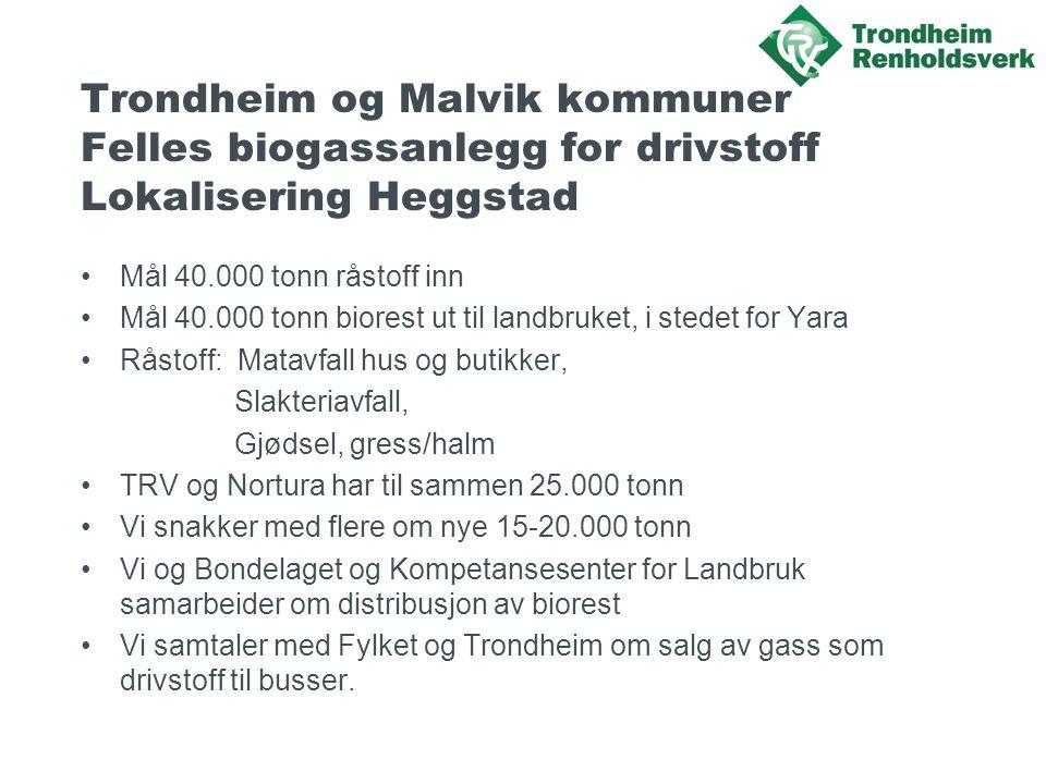 Trondheim og Malvik kommuner Felles biogassanlegg for drivstoff Lokalisering Heggstad