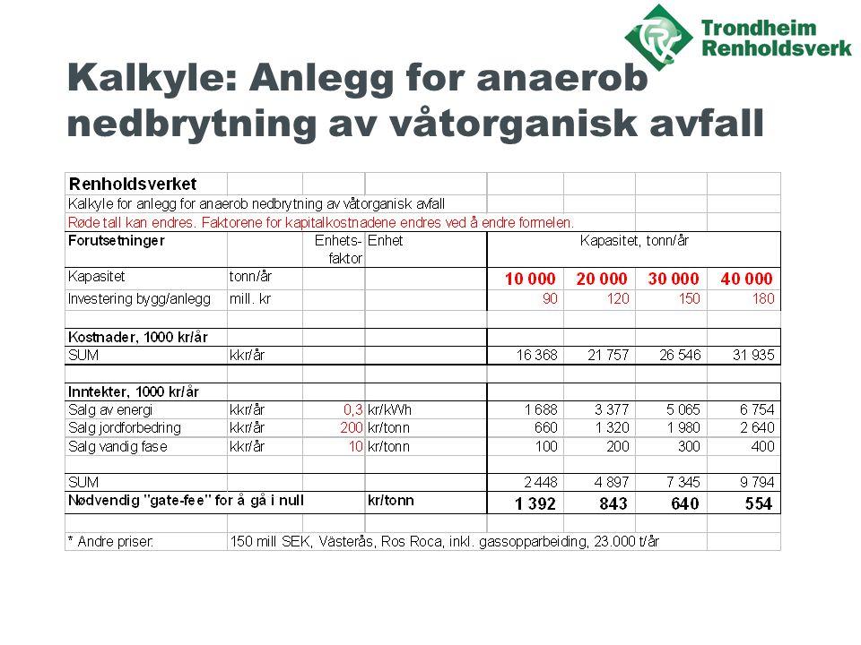 Kalkyle: Anlegg for anaerob nedbrytning av våtorganisk avfall