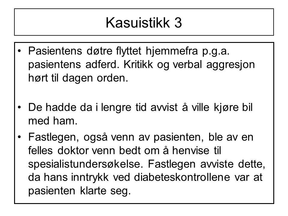 Kasuistikk 3 Pasientens døtre flyttet hjemmefra p.g.a. pasientens adferd. Kritikk og verbal aggresjon hørt til dagen orden.