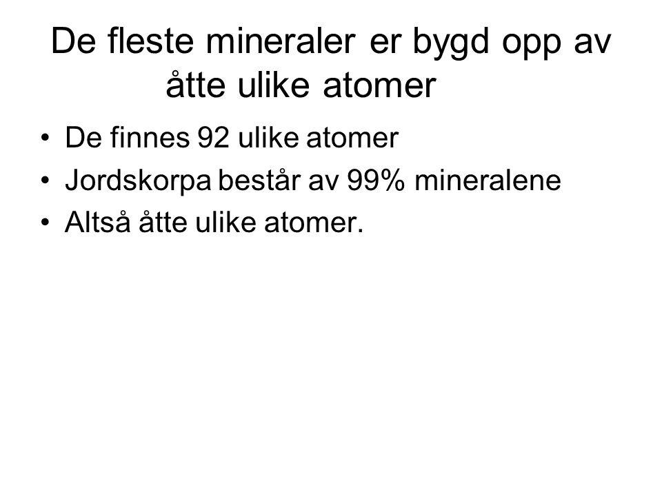 De fleste mineraler er bygd opp av åtte ulike atomer