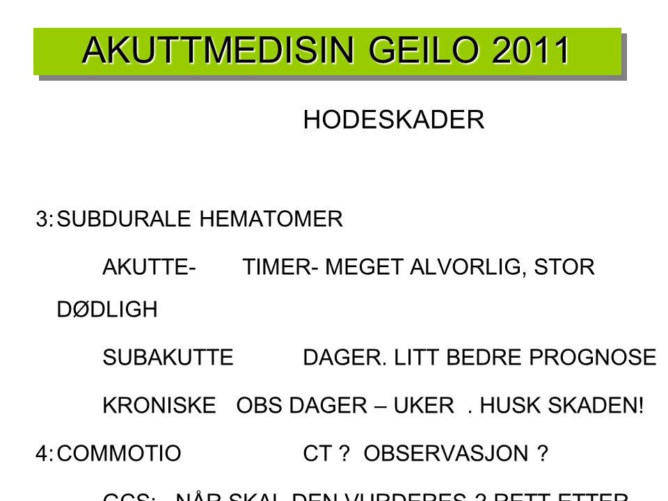 AKUTTMEDISIN GEILO 2011 HODESKADER 3: SUBDURALE HEMATOMER