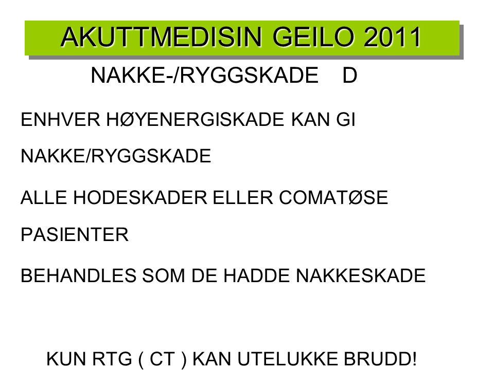 AKUTTMEDISIN GEILO 2011 NAKKE-/RYGGSKADE D