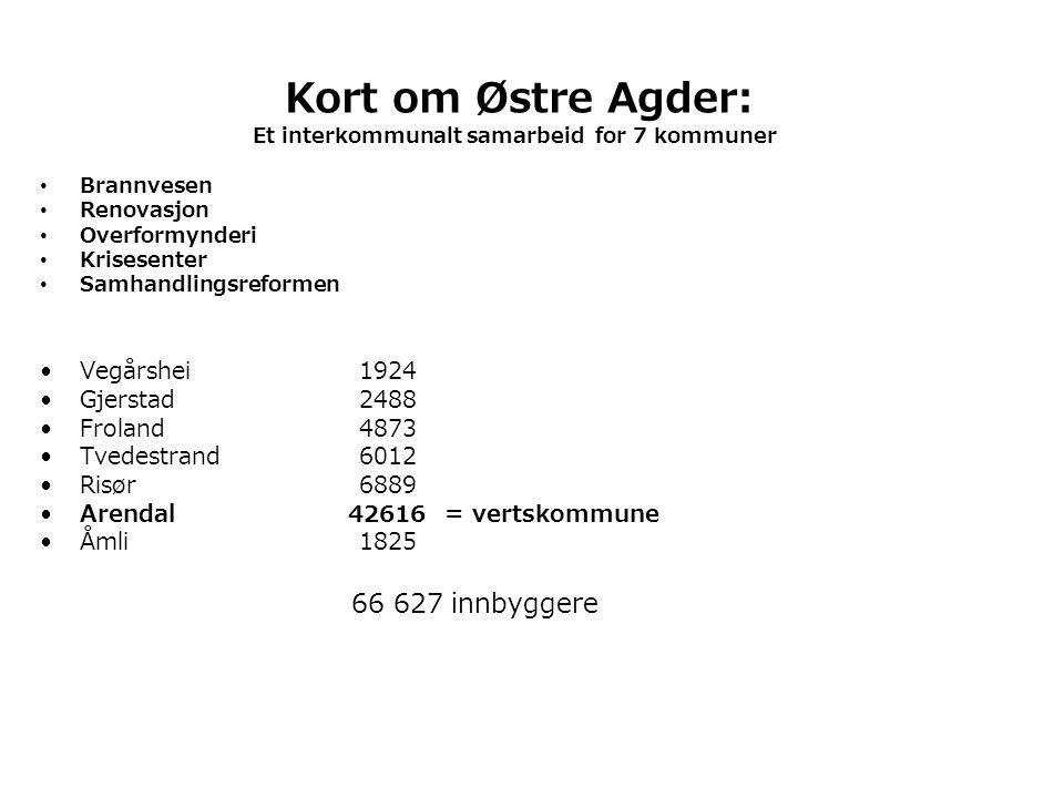 Kort om Østre Agder: 66 627 innbyggere Vegårshei 1924 Gjerstad 2488
