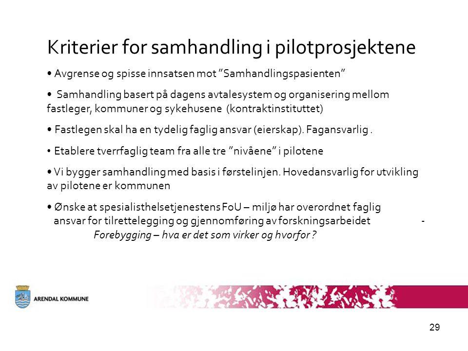 Kriterier for samhandling i pilotprosjektene